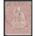 SWITZERLAND - 1860 15Rp rose Sitting Helvetia (late Bern printing), used – Zumstein # 24G
