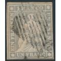 SWITZERLAND - 1855 1Fr. grey Sitting Helvetia (early Bern printing, black thread), used – Zumstein # 27C