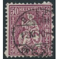 SWITZERLAND - 1867 50c deep reddish purple Sitting Helvetia (Sitzende Helvetia), used – Zumstein # 43c