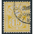 SWITZERLAND - 1882 15c yellow Cross & Numeral, granite paper, oval watermark (Kz. I), used – Zumstein # 63Aa