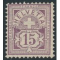 SWITZERLAND - 1894 15c brownish purple Cross & Numeral, oval watermark (Kz. II), MNG – Zumstein # 64B
