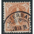 SWITZERLAND - 1892 30c brown Helvetia, perf. 11½:11, oval watermark (Kz. I), used – Zum. # 68C