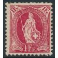 SWITZERLAND - 1907 1Fr. carmine Helvetia, perf. 11½:12, crosses watermark, granite paper, MH – Zum. # 99A