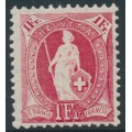SWITZERLAND - 1907 1Fr. carmine Helvetia, perf. 11½:12, crosses watermark, granite paper, MNH – Zum. # 99A