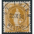 SWITZERLAND - 1891 3Fr. bright yellow-brown Helvetia, perf. 11¾:11¾, oval watermark (Kz. I), used – Zum. # 72A