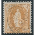 SWITZERLAND - 1902 3Fr. pale yellowish brown Helvetia, perf. 11½:12, oval watermark (Kz. II), used – Zum. # 72E