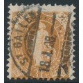 SWITZERLAND - 1907 3Fr. yellowish brown Helvetia, perf. 11½:12, crosses watermark, plain paper, used – Zum. # 92C