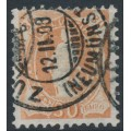 SWITZERLAND - 1907 30c orange-brown Helvetia, perf. 11½:11, crosses watermark, granite paper, used – Zum. # 96B