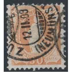 SWITZERLAND - 1907 30c orange-brown Helvetia, perf. 11½:11, crosses watermark, granite paper, used – Zum. # 96B