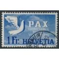 SWITZERLAND - 1945 1Fr ultramarine/pale blue Peace issue, used – Michel # 455
