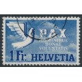 SWITZERLAND - 1945 1Fr ultramarine/pale blue Peace issue, used – Michel # 455