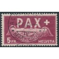 SWITZERLAND - 1945 5Fr carmine-brown Peace issue, used – Michel # 458