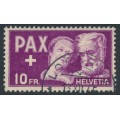 SWITZERLAND - 1945 10Fr deep purple Peace issue, used – Michel # 459