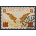SWITZERLAND - 1933 35c brown-carmine/brown-yellow Airmail on grilled paper, used – Michel # 233z