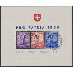 SWITZERLAND - 1936 Pro Patria M/S, used – Michel # Block 2