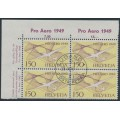 SWITZERLAND - 1949 1.50Fr violet/reddish yellow PRO AERO, block of 4, CTO – Michel # 518b