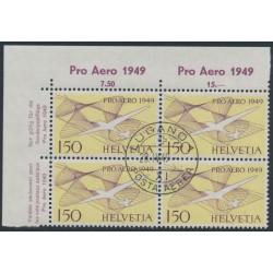 SWITZERLAND - 1949 1.50Fr violet/reddish yellow PRO AERO, block of 4, CTO – Michel # 518b