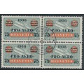 SWITZERLAND - 1938 75c on 50c grey/red PRO AERO, block of 4, CTO – Michel # 325