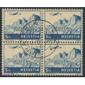 SWITZERLAND - 1941 5Fr dark blue on buff Airmail, block of 4, used – Michel # 394