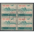 SWITZERLAND - 1941 1Fr blue-green on buff PRO AERO, block of 4, CTO – Michel # 395