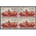 SWITZERLAND - 1943 1Fr brown/buff PRO AERO, block of 4, CTO – Michel # 422