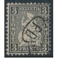 SWITZERLAND - 1862 3c black Sitting Helvetia (Sitzende Helvetia), used – Zumstein # 29