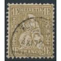 SWITZERLAND - 1864 1Fr gold Sitting Helvetia (Sitzende Helvetia), used – Zumstein # 36c