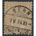 SWITZERLAND - 1874 2c pale yellowish brown Sitting Helvetia (Sitzende Helvetia), used – Zumstein # 37c