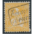 SWITZERLAND - 1863 20c orange Sitting Helvetia (Sitzende Helvetia), Emmenbrücke boxed cancel