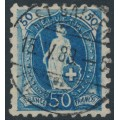 SWITZERLAND - 1888 50c blue Helvetia, perf. 9¾:9¼, oval watermark (Kz. I), used – Zum. # 70B