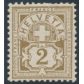 SWITZERLAND - 1906 2c olive-brown Cross & Numeral, crosses watermark, MNH – Zumstein # 80