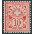 SWITZERLAND - 1906 10c vermilion Cross & Numeral, crosses watermark, MNH – Zumstein # 83a