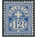 SWITZERLAND - 1906 12c deep blue Cross & Numeral, crosses watermark, MNH – Zumstein # 84b