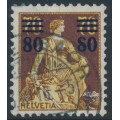 SWITZERLAND - 1915 80c on 70c brown/ yellow Helvetia, variety 'broken 8', used – Zumstein # 135.2A.01