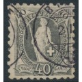 SWITZERLAND - 1888 40c grey Helvetia, perf. 9¾:9¼, oval watermark (Kz. I), used – Zum. # 69B