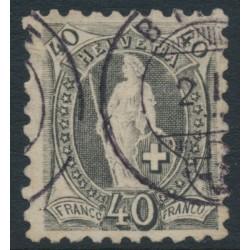 SWITZERLAND - 1888 40c grey Helvetia, perf. 9¾:9¼, oval watermark (Kz. I), used – Zum. # 69B