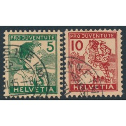 SWITZERLAND - 1915 Pro Juventute set of 3, used – Michel # 128-129