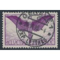 SWITZERLAND - 1924 1Fr red-violet Airmail on smooth paper, used – Michel # 191x