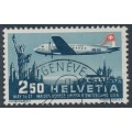 SWITZERLAND - 1947 2.50Fr blue/red Pro Aero airmail issue, used – Michel # 479