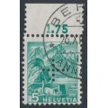 SWITZERLAND - 1937 5c blue-green Landscape, smooth paper, official cross perfin., used – Michel # D20y