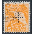 SWITZERLAND - 1937 15c orange Landscape, grilled paper, official cross perfin., used – Michel # D22z