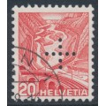 SWITZERLAND - 1937 20c red Landscape, grilled paper, official cross perfin., used – Michel # D23z