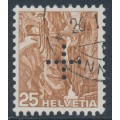 SWITZERLAND - 1937 25c brown Landscape, smooth paper, official cross perfin., used – Michel # D24y