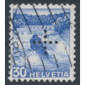 SWITZERLAND - 1937 30c ultramarine Landscape, grilled paper, official cross perfin., used – Michel # D25z