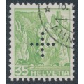 SWITZERLAND - 1937 35c green Landscape, smooth paper, official cross perfin., used – Michel # D26y