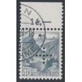 SWITZERLAND - 1937 40c grey Landscape, grilled paper, official cross perfin., used – Michel # D27z