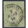 SWITZERLAND - 1855 40Rp green Sitting Helvetia (maroon thread, early Bern), used – Zumstein # 26C