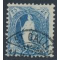 SWITZERLAND - 1899 25c blue Helvetia, 'retouched NE & behind Helvetia', used – Zum. # 73D.3.07