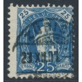 SWITZERLAND - 1899 25c blue Helvetia, 'hairline scratch', used – Zum. # 73D.2.24