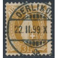 SWITZERLAND - 1891 3Fr. brown Helvetia, perf. 11¾:11¾ , oval watermark (Kz. I), used – Zum. # 72A